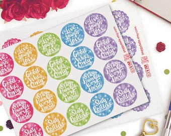 Circle Inspirational Quotes Planner Stickers | Erin Condren | Kikki K | Filofax | Motivational | Watercolor | Scallops