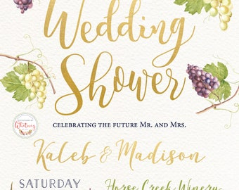 Vineyard Invitation, Winery Invitation, Couple's Wedding Shower Invitation, Grape Invitation, Wedding Shower Invitation, Vineyard Grapes
