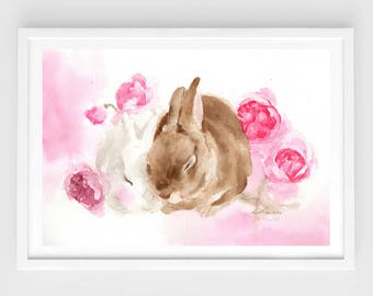 """Original watercolor """"be together N.5"""",two resting rabbits,original painting,8""""3x11""""8,home decor"""