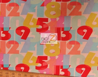 "123 Numbers By Michael Miller 100% Cotton Fabric - 45"" Width Sold By The Yard (FH-999)"