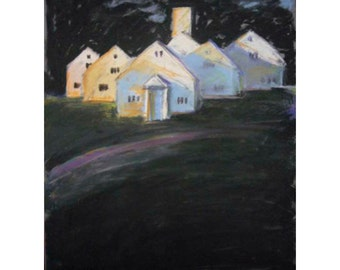 Modern Painting of Dramatic White home with dark background