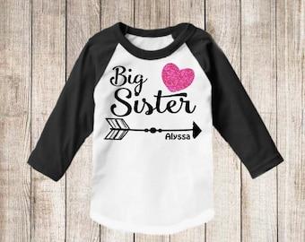 Big Sister Arrow Faux Pink Glitter Personalized T Shirt Big Sister Raglan shirt