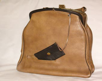 Vintage 1960's leather handbag, one of a kind pocket book, olive-brown