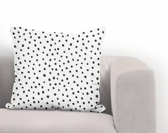 Black Dots Pillow Cover | Throw Pillow | Cushion Cover | Decorative Pillow | Home Decor Pillow | Black White Pillow | Accent Pillow