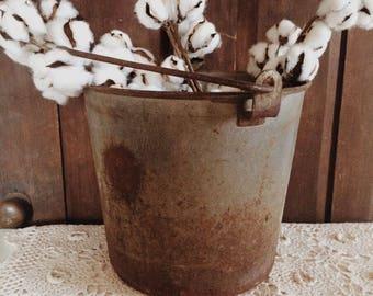 Antique Metal Bucket With Handle