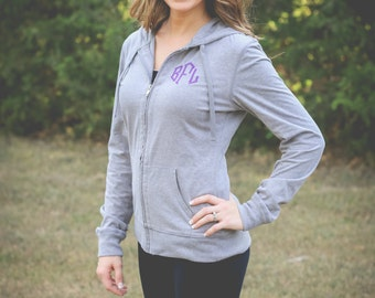 Monogram Zip Up Jacket | Monogram Hoodie | Full Zip Hoodie | Lightweight Jacket | Monogrammed Jacket | Gift for Her | Gifts under 30