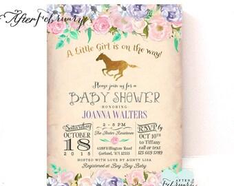 Horse baby shower invitation unicorn baby shower invite horse baby shower invitation lavender pink gold baby shower invitation horseback riding baby shower invite printable no1296baby filmwisefo