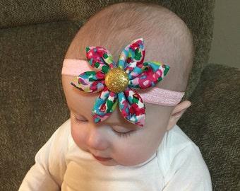 Bright Colored Flower Bow Headband