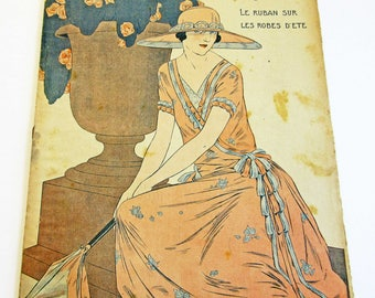 1920s Vintage French Magazine Mode Pratique May 1923 Fashion Sewing & Knitting Antique