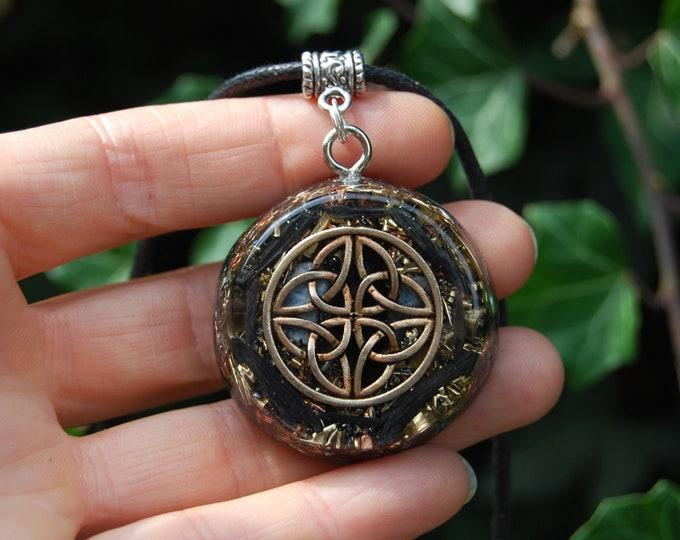 Black and Blue Kyanite Orgonite® Celtic Knot Pendant Infinity Orgone Necklace Unisex