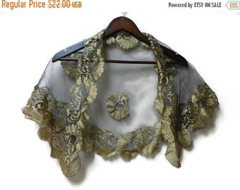 SALE Black and Gold Lace Shawl Scarf Wrap - Vintage 70s 80s