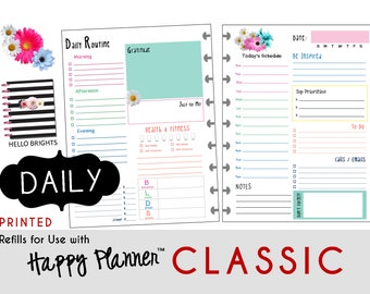 "PRINTED: ""Hello Brights"" DAILY inserts for the CLASSIC Happy Planner 7 x 9.25  Create365 