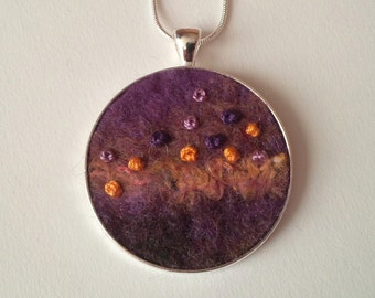 Handmade Felt Pendant in Purple, Orange, Yellow and Dark Greens with Hand Stitched Detail