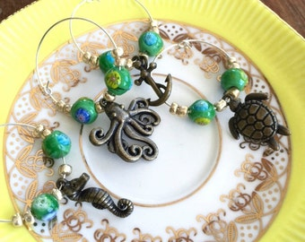 Sea Life Wine Charms, Set of 4, Octopus, Seahorse, Anchor, Turtle, Glass Beads, Wine, Hostess Gift, Stocking Stuffer