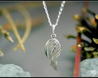 Silver phoenix pendant, bird pendant, silver women pendant,  bird jewelry, phoenix jewelry, handmade jewelry, unique design, birthday gift