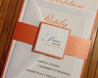 Layered Wedding invitation with Orange belly band | wedding invitation