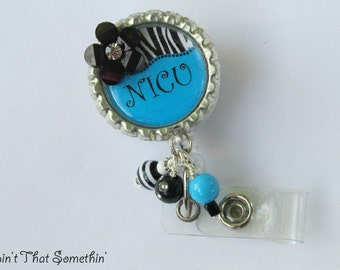 Brite Blue, Green or Pink with Zebra Print Personalized  Retractable Badge Reel