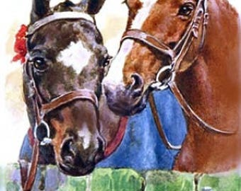 Horses Yours Faithfully Reproduction Fabric Crazy Quilt Block Free Shipping World Wide