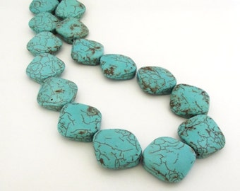 "Light Teal Green Magnesite Curved Flat Diamond shaped beads, 26x26mm - 15"" Strand"