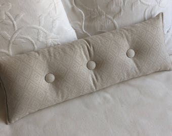 Ecru beige ivory woven 9x25 Bolster/lumbar pillow available in many of our fabrics