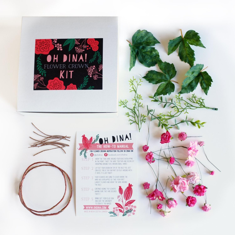 Pink diy flower crown kit kids flower crown kit pink flower zoom izmirmasajfo Images