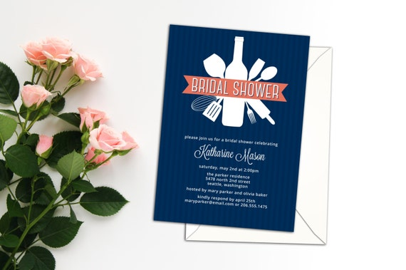 Kitchen Utensils Bouquet Bridal Shower Invitation, Cooking Event Invitation or Announcement, Love of Cooking or Casual Food Event Invitation