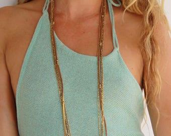 Multi Strand Boho Necklace - Elegant Long Necklace - Bohemian Leather Necklace - Everyday Boho Necklace - Double Wrap Necklace