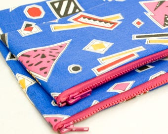 Gifts for Her Canvas Pencil Case Back to School Make Up Bag Set with Brush Holder Retro 80s Print Toiletry Zipper Bag or Pencil Case