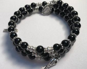 Black Rosary Bracelet Wrap,Awareness Rosary Bracelet, 5 Decade Rosary Bracelet