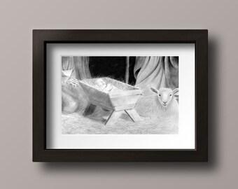 Nativity Print - Nativity - Nativity Scene - Nativity Wall Art - Nativity Decor - Nativity Art - Christmas Print - Christmas Nativity