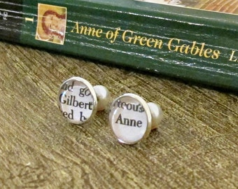Anne of Green Gables Earrings - Double Sided Studs Pearls Ear For Women - Jewellery Jewelry Bookish Gift Bookworm - Silver Gilbert Shirley
