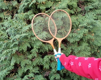 Vintage Badminton Racquets, Tennis Racquets, Set of 2 Wooden Rackets GERMINA DDR, Vintage Pair of Wooden Racquets, made in DDR in 70s