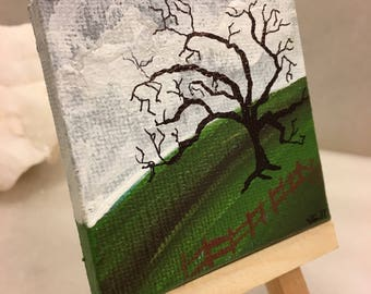 """Original Handmade Mini Canvas and Easel Acrylic Painting of a Landscape/Tree/Nature- 2.5"""" Square Art"""
