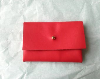 Wallet red leather, gold clasp