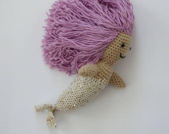 Mermaid doll, amigurumi mermaid, OOAK mermaid, glamourous mermaid , mermaid plush, mermaid toy, under the sea creature, ready to ship, SALE!