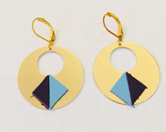 Blue and purple and gold earring