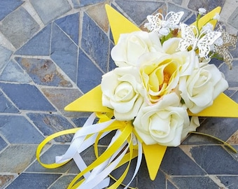 Flower-girl Floral Wand -  Yellow Star Wand with Butterflies for Flowergirl, Wedding Flowers for Flowergirl
