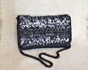Black shoulder bag, Black and white crochet clutch, Black clutch, Winter trends, Woman accessory, All day bag, Black purse, Birthday gift