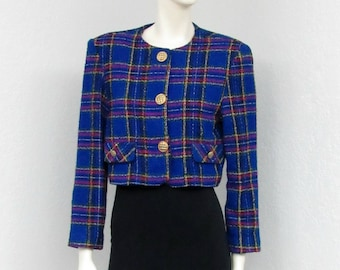 Vintage 90s Does 60s Blue Plaid Jacket, Cropped Jacket, Blazer Jacket, Tweed Jacket, Cropped Blazer, Oversized Jacket, Womens Outerwear