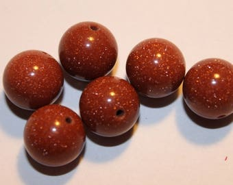 Stone beads, gold stand, 12 mm, set of 4