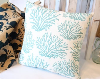 "Coral Reef 16"" Pillow  /  Coral Reef 18"" Pillow / Beach Pillow /  Throw Pillow /  Beach Throw Pillow /  Nautical Pillow /  Beach Decor"