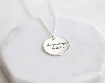 Handwriting Disc Necklace - engraved handwriting necklace - personalized disc necklace - disc jewelry