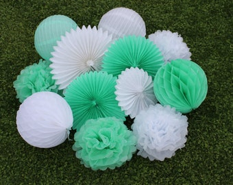 12pcs Mint Green White Hanging Paper Fans Tissue Paper Pom Poms Flower and Honeycomb Balls for Birthday Party Wedding Festival Decor