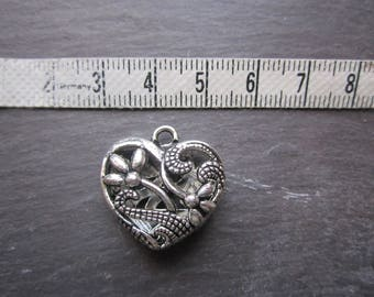 heart pendant 3D silver tone, N2, for jewelry making