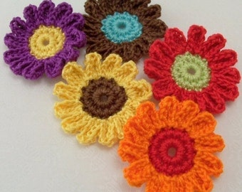 Crochet Flower Appliqués in Assorted Colors