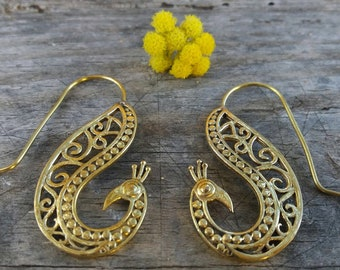 brass earring, sterling brass, sterling brass earring, peacock design, brass peacock, peacock earring, peacock jewelry, summer jewelry
