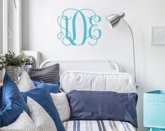 Vine Monogram Decal | Nursery Decal | Initial Wall Decal, College Dorm Room | Custom Monogrammed Wall Decal | Teen Room Decor