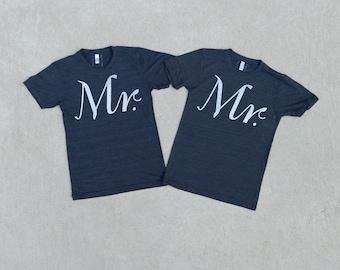 Mr and Mr Shirts, Same Sex Gay Wedding Gift, Matching Couples Shirts Anniversary Gift, Graphic Tees, Mens Tshirt Set