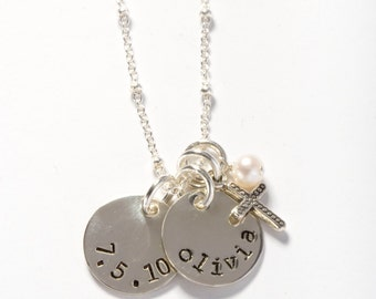 Personalized Confirmation Gift, Personalized First Communion Gift, Personalized Baptism Gift, Date and Name Necklace, 1st Communion Necklace