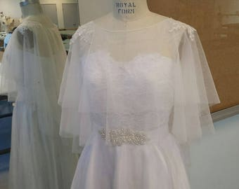 Bridal Cover Up Tulle Bolero, OFF WHITE Soft Tulle with Lace Applique on Shoulders, CU02